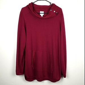 SUNDAY Rolled Cowl Neck Top Burgundy XL